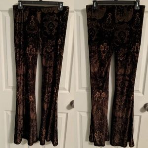Free People brown velvet flare pants